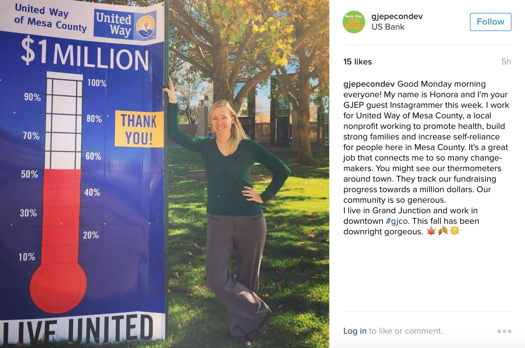 Honora Thompson, United Way, GJEP Instagram