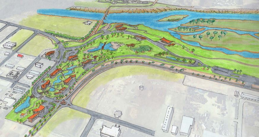 Initial rendering of RIVERFRONT at las colonias PARK, an outdoor rec oriented business park in Grand Junction, CO